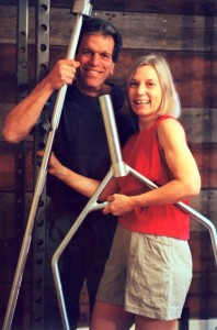 Elaine and Vic Mansfield with strength training equipment