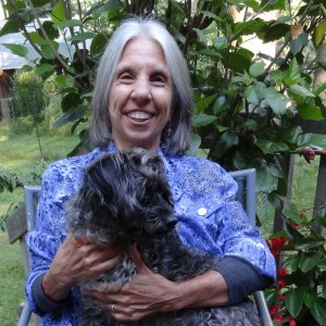 Writing teacher Ellen Schmidt and her dog Otter