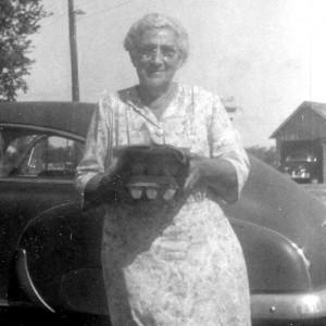 Grandma Edna Ware bringing eggs to town