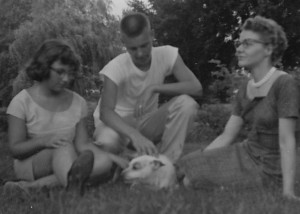 With Jim, Mom, and Amigo, 1957