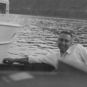 On a boat ride in 1957