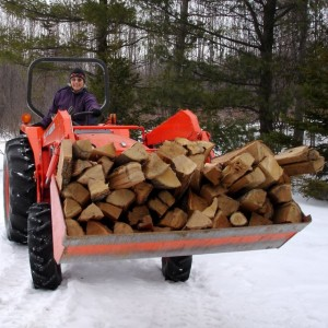 Moving firewood with the Kubota