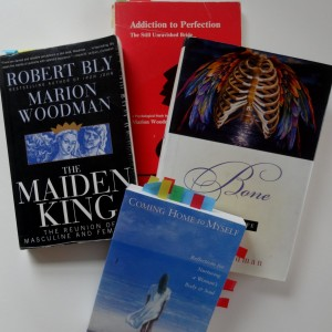 A few of many Marion Woodman books on my shelves