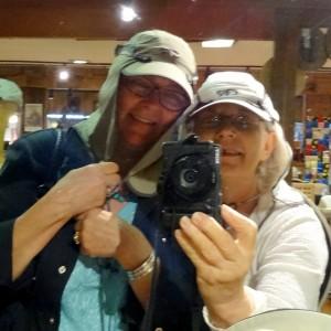 Trying on hats in the Santa Monica rain