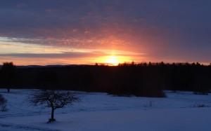 sunset in snow