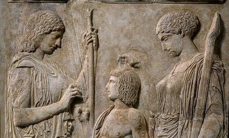 Persephone & Demeter, Eleusis, 430-440 BC (wikipedia image)