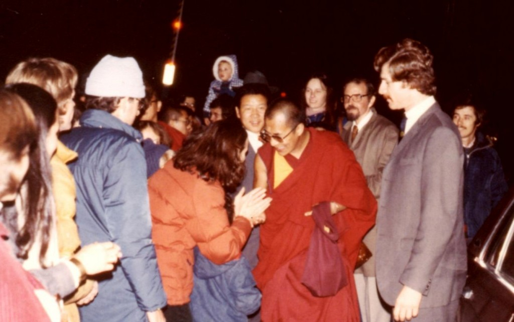 Our community greeting the Dalai Lama at the Ithaca airport, 1979