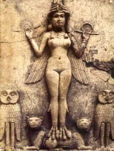 Inanna after her Initiation with powers of Heaven, Earth, and Great Below (Burney Relief, wikimedia)