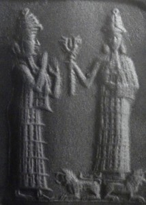 Inanna w/ Ninshubur (?) or a helpful goddess (wikimedia)
