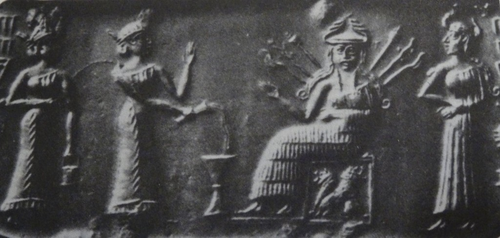 Inanna on her throne (wikimedia)