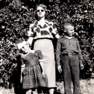 With my mother and brother, 1950