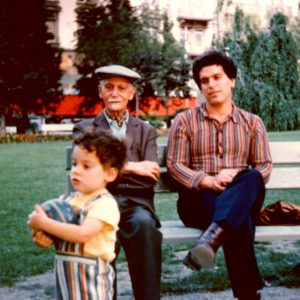 Paul Brunton, Vic, and David in the garden