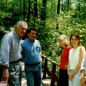 Vic, Marvin Spiegelman, his daughter, and me on the hemlock trail, 1990