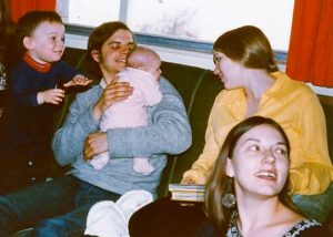 With Pat, her husband, their baby Sita, and our son David, 1972