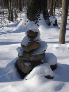 cairn in snow