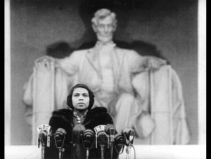 Marion Anderson at Lincoln Memorial, 1939 (wikipedia)