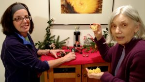 Lighting candles with Liz, Solstice 2015