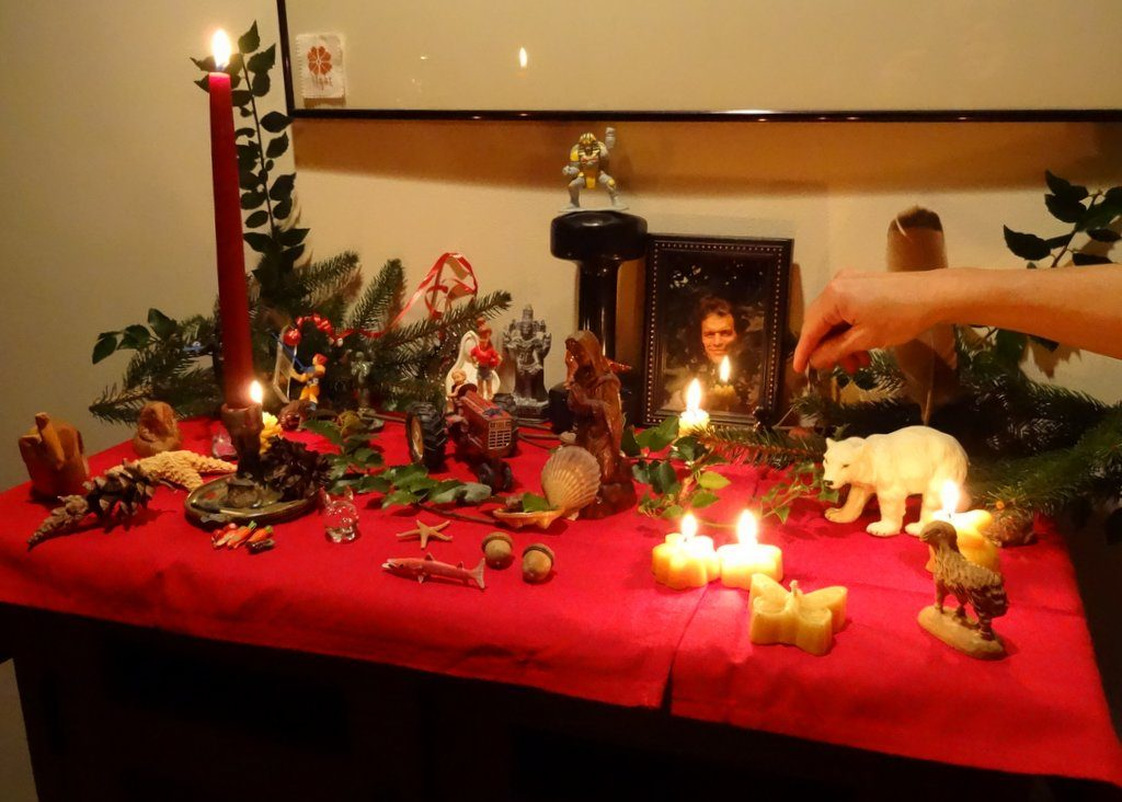 What's on the solstice altar? Tractors & action figures?