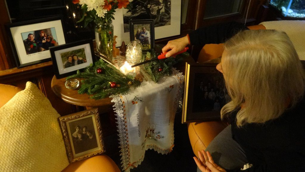 Lighting the Solstice candles at David and Liz's home, 2014