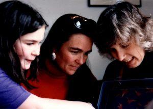Showing the figures to Ariel and Lauren in 1994