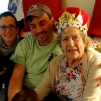 Liz, David, & Virginia, 2016, her 100th birthday